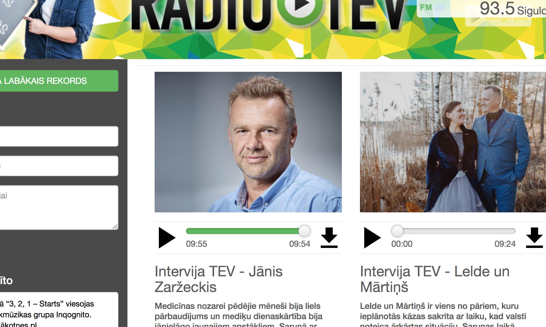 ekrānšāviņš no Radio TEV mājaslapas